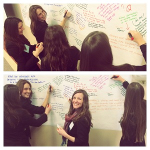 Brunettes, including Debra and Mackenzie of The Oath Project, Jotting answers to the question 'What can individuals and others in leadership roles do to change business for the better?